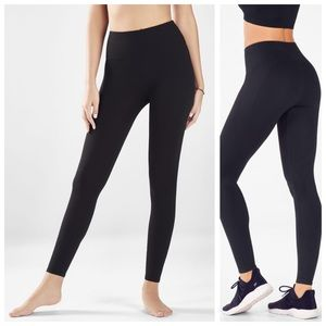 Fabletics High Waist Black Ribbed Seamless Tights